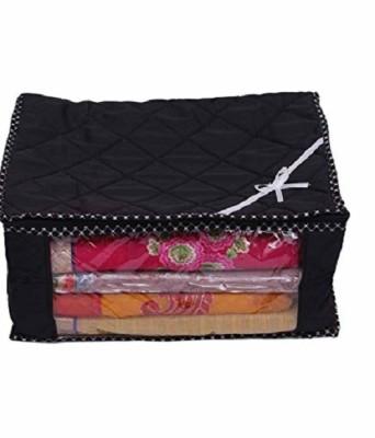 Kuber Industries Designer 3 Layered Quilted Multi Saree Cover (10-15 Sarees Capacity), Wardrobe Organiser, Regular Cloth Bag SC094(Black)  available at flipkart for Rs.289