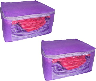 Addyz Front Transparent Single Saree Cover Pack of 2 Purple Addyz Garment Covers