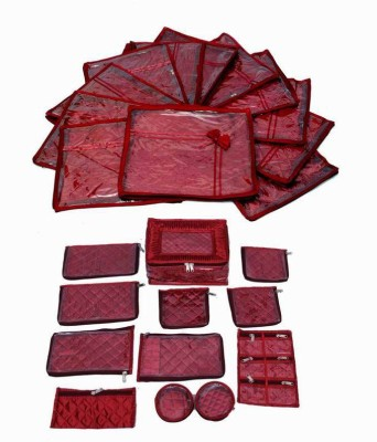 KUBER INDUSTRIES Designer Wedding Special Combo, 12 Pcs Of Satin Bow Saree Cover, Locker Jewellery Kit With 12 Pouches MKUCOM102 Maroon KUBER INDUSTRI