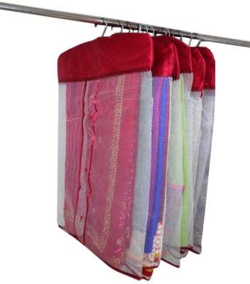 atorakushon Designer Satin Hanging Saree Cover 6PC HSC6 Maroon atorakushon Garment Covers