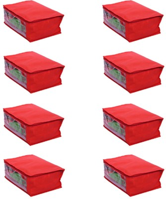 KUBER INDUSTRIES Designer Saree Cover Set of 8 Pcs in Non Woven Material  Red  SLT024 Multicolor KUBER INDUSTRIES Garment Covers