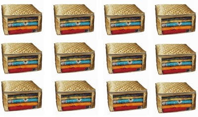 KUBER INDUSTRIES Designer Saree cover large size upto 15 Sarees in Golden Satin Set Of 12 Pcs/ Wedding Gift KUBES38 Gold KUBER INDUSTRIES Garment Cove