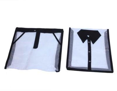 KUBER INDUSTRIES Designer Shirt, Trouser cover in full transparent net 2 Pcs set MKU5080 Black KUBER INDUSTRIES Garment Covers