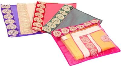 Kuber Industries Designer Zari Border Flip Saree cover set of 5 Pcs KUBS71(Multicolor)  available at flipkart for Rs.199
