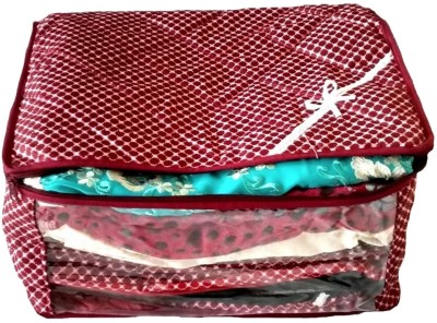 KUBER INDUSTRIES Designer 3 Layered Quilted Printed Transparent Multi Saree Cover  10 15 Sarees Capacity  sc031 Maroon KUBER INDUSTRIES Garment Covers