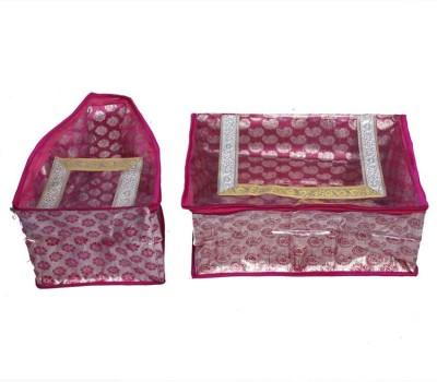 KUBER INDUSTRIES Designer Saree   Blouse Cover In Pink Designer Brocade 2 Pcs Set SC89 Pink KUBER INDUSTRIES Garment Covers
