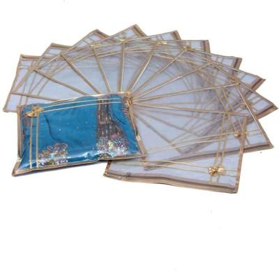 KUBER INDUSTRIES Designer Saree Cover 12 Pcs combo In Golden Plastic MKU0050024 Pink KUBER INDUSTRIES Garment Covers