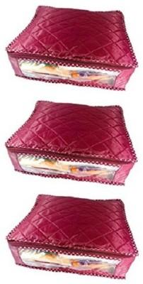 KUBER INDUSTRIES Designer Saree cover , Wardrobe Organiser, Regular Cloth Bag Set of 3 Pcs sc064 Maroon KUBER INDUSTRIES Garment Covers