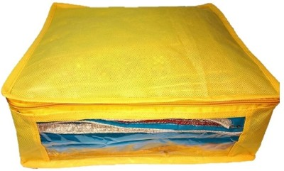 Addyz Plain 1pcs ladies Large Non   woven Saree cover Upto 5   6 each Yellow Addyz Garment Covers