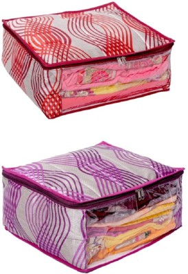 KUBER INDUSTRIES Designer Heavy Quilted Large Saree Cover  With Capacity of upto 15 Sarees  Set of 2 Pcs SLT002 Multicolor KUBER INDUSTRIES Garment Co
