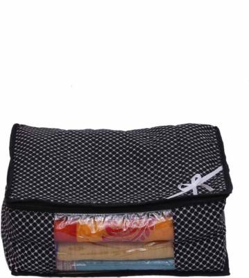KUBER INDUSTRIES Designer Saree Cover in Polk dots MKU73038 Black KUBER INDUSTRIES Garment Covers