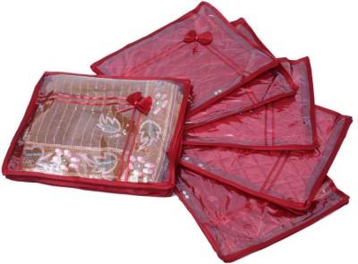 KUBER INDUSTRIES Designer Saree Cover 6 Pcs Combo In Maroon Satin SC48 Maroon KUBER INDUSTRIES Garment Covers