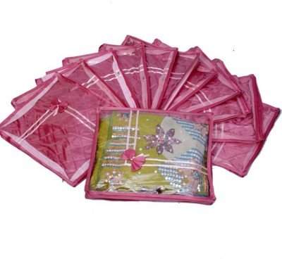 Kuber Industries Designer Saree Cover 12 Pcs Combo In Pink Satin MKU0050051 Pink