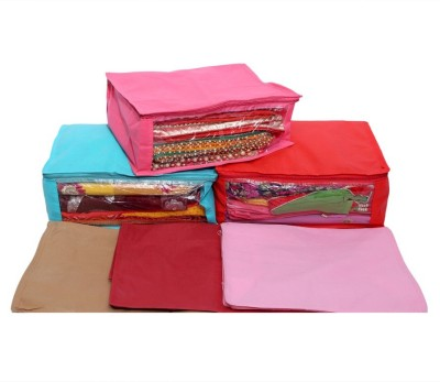 KUBER INDUSTRIES Designer Non Woven Saree Cover 6 Pcs combo MKU006602 Multicolor KUBER INDUSTRIES Garment Covers