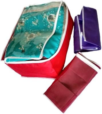 KUBER INDUSTRIES Designer Transparent Non Woven Multi Saree Cover Set of 3 Pcs sc028 Multicolor KUBER INDUSTRIES Garment Covers