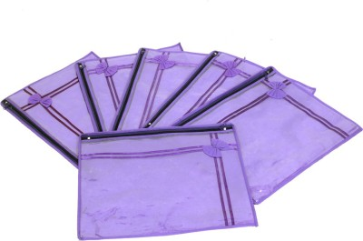 KUBER INDUSTRIES Designer Non Wooven Single Saree Cover Set Of 6 Pcs  With Zip Lock  KUBS16 Blue KUBER INDUSTRIES Garment Covers