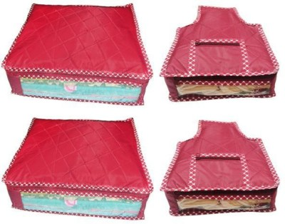 Ombags   More Saree Cover Combo Of 2 And Blouse Cover Combo Of 2 bb044 Maroon Ombags   More Garment Covers