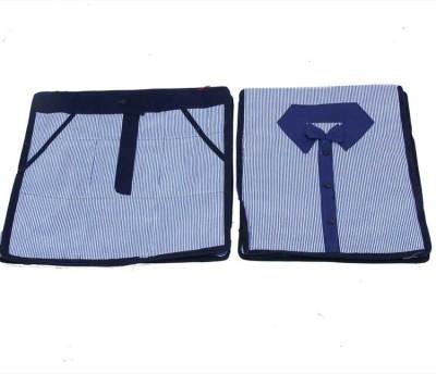KUBER INDUSTRIES Designer Shirt, Trouser Cover In Cotton Material 2 Pcs Set MKU0050082 Blue KUBER INDUSTRIES Garment Covers