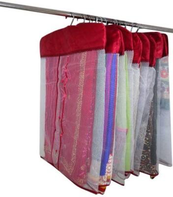 atorakushon Designer Satin Hanging Saree Cover 12PC HSC12 Maroon atorakushon Garment Covers