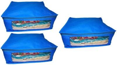 Addyz Plain 3pcs ladies Large Non   woven Saree cover Upto 5   6 each Blue Addyz Garment Covers
