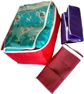 INDI BARGAIN Plain color set of 3 tranaparent multi saree cover Multicolor INDI BARGAIN Garment Covers