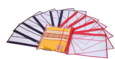 KUBER INDUSTRIES Designer Single Packing Transparent Saree Cover Set Of 12 Pcs  With Zip Lock  KUBS0034 Multicolor