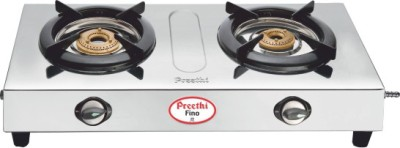 Preethi Blu Flame Fino Stainless Steel Manual Gas Stove(2 Burners)