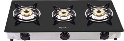 Pigeon Favourite Blackline Cooktop Glass, Stainless Steel Manual Gas Stove(3 Burners)