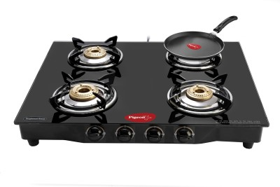 Pigeon Brass Square 4 Steel Manual Gas Stove(4 Burners) at flipkart