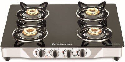 Bajaj CGX4-4B Glass, Stainless Steel Manual Gas Stove(4 Burners)