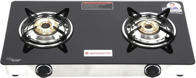 Wonderchef Zest Glass, Stainless Steel Manual Gas Stove(2 Burners) at flipkart