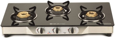 Bajaj Majesty CGX3 Eco Glass, Stainless Steel Manual Gas Stove(3 Burners)
