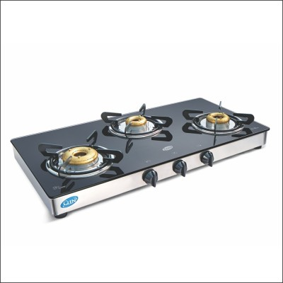 GLEN 1033 Glass Manual Gas Stove(3 Burners) at flipkart