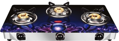 Pigeon Smart Plus Stainless Steel, Glass Manual Gas Stove(3 Burners)