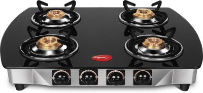 Pigeon Stainless Steel, Glass Manual Gas Stove(4 Burners)