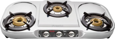 Preethi Blu Flame Topaz Stainless Steel Manual Gas Stove(3 Burners)