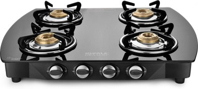 Ideale Graacio VIRO Burner Glasstop Glass, Stainless Steel Manual Gas Stove(4 Burners)