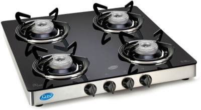 GLEN Glass Cooktop Stainless Steel Manual Gas Stove(4 Burners)