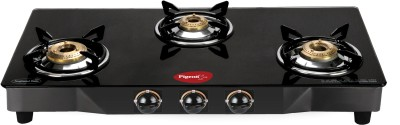 Pigeon Brass Square Steel Manual Gas Stove(3 Burners)