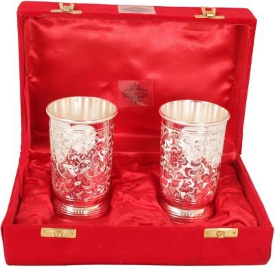 IndianArtVilla IAV-B-3-102 Glass(Silver Plated, 400 ml, Silver, Pack of 2)
