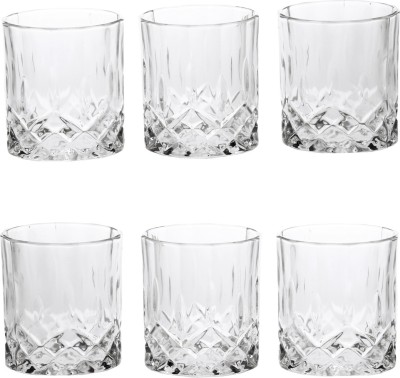 Somil Somil Stylish Shape Self Designer Multipurpose Glass Design No-AX5 Set Of 6 Glass Set(Glass, 220 ml, Clear, Pack of 6) at flipkart