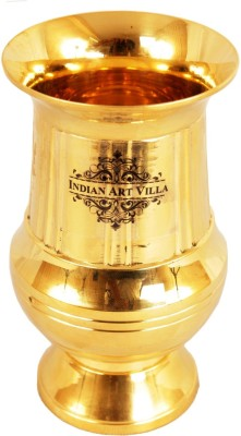 IndianArtVilla Handmade Brass Glass Cup Tumbler 200 ML Home Decorate Gift Item Glass(Brass, 200 ml, Gold, Pack of 1)