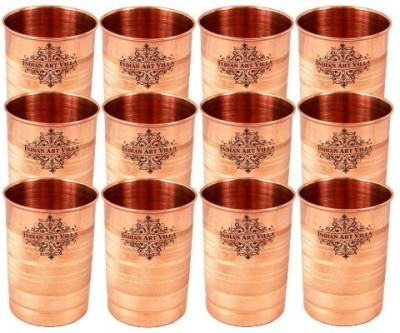 IndianArtVilla Set of Pure Copper Glasses,300 ML Each,Drinkware Glass Set(Copper, 3600 ml, Brown, Pack of 12)