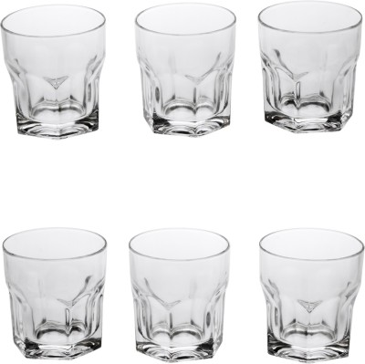 Somil Multi Purpose Party Designer Glass Set_098716 Glass Set(Glass, 330 ml, Clear, Pack of 6) at flipkart
