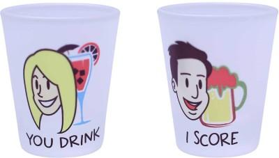 The Crazy Me You Drink , I Score set of Shot Glasses Glass Set(Plastic, 50 ml, Clear, Pack of 2) at flipkart