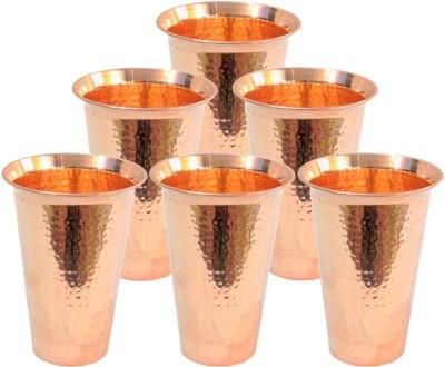 Indian Craft Villa  Pack of 6  ICV C9 126 Glass Set 3300 ml, Copper Indian Craft Villa Glasses