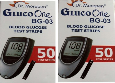 Dr. Morepen Gluco One Monitoring System 50 Test Strips (Pack of 2) Glucometer(Blue)  available at flipkart for Rs.1120