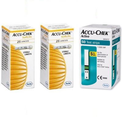 ACCU-CHEK Active 50 Strips with 2 Packs of 25 Lancets Glucometer(Green)