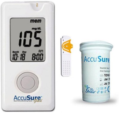 AccuSure Gold Glucose Monitor with 10 Strips Glucometer(White)
