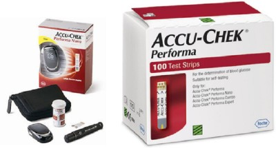 ACCU-CHEK Performa Nano 100 Strips With Glucometer(Red)